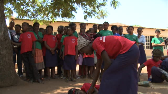 october 19, 2010 group of elementary school students perform a skit during outdoor health and safety class / mozambique - スケッチコメディー点の映像素材/bロール