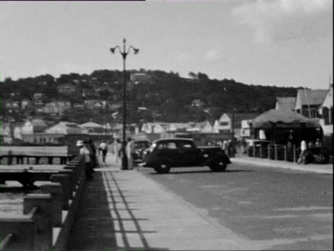 vidéos et rushes de october 1936 b/w montage passengers disembarking small boat at dock and beach with coconut palms / martinique, west indies - martinique