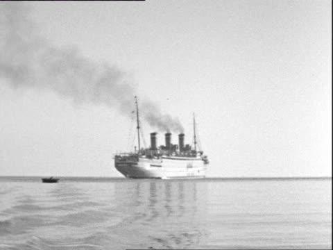 october 1936 b/w ws ocean liner in calm mediterranean sea - aboard stock videos & royalty-free footage