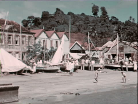 vidéos et rushes de october 1936 montage people in harbor, men pulling pig and baby goats along pier towards ship / west indies - antilles occidentales