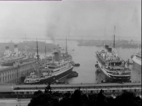 October 1938 B/W WS PAN Ocean liners moored in Mediterranean harbor / Genoa, Italy
