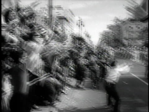 october 2, 1964 montage mardi gras day parade with elaborate floats / new orleans, louisiana, united states - new orleans mardi gras stock videos and b-roll footage