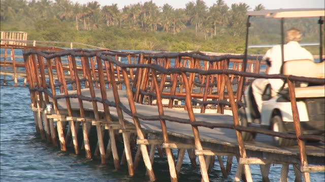 october 20, 2010 a lone man driving a golf cart on a winding wooden bridge perched above water / mozambique - golf cart stock videos & royalty-free footage