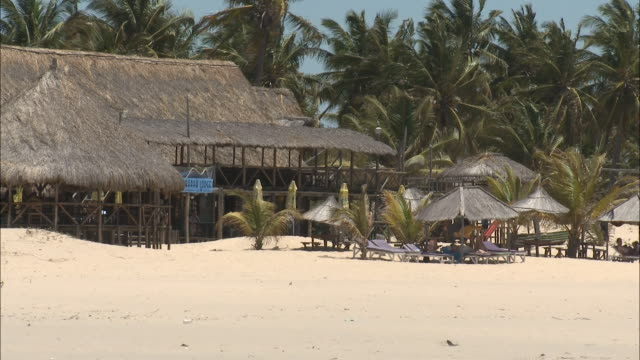 october 20 2010 ws beachfront resort with thatched roof / mozambique - thatched roof stock videos and b-roll footage