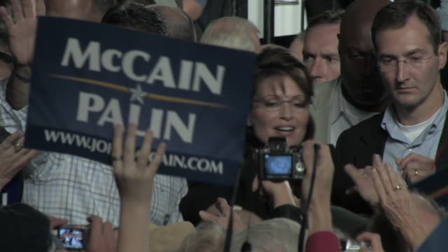october 2009 ms pan republican vicepresidential candidate sarah palin with her husband todd palin greeting supporters during presidential campaign/... - mature couple stock videos & royalty-free footage