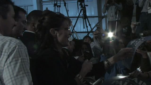 october 2009 republican vice-presidential candidate, sarah palin, with her husband todd palin greeting supporters and signing autographs during... - mature couple stock videos & royalty-free footage