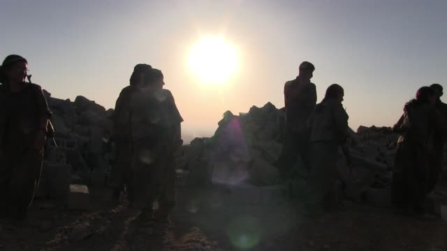 07 october 2014 a group of female kurdish fighters of the free women's units shortened as yja star the women's military wing of the kurdistan... - battlefield stock videos & royalty-free footage