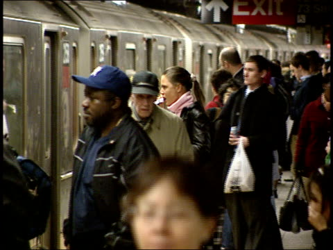 october 21, 2004 passengers getting off and boarding a new york city subway train / new york, united states - 2004 stock videos & royalty-free footage