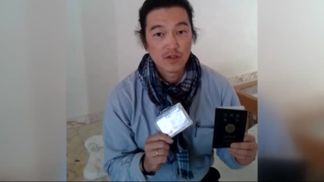october 24 japanese journalist kenji goto jogo, one of two japanese hostages captured by islamic state of iraq and levant , gives an interview in... - isil konflikt stock-videos und b-roll-filmmaterial