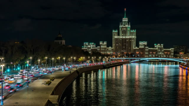 october 26 2018,moscow russia timelapse car on street with moscow river kremlin bridge night time - 1937 stock videos & royalty-free footage