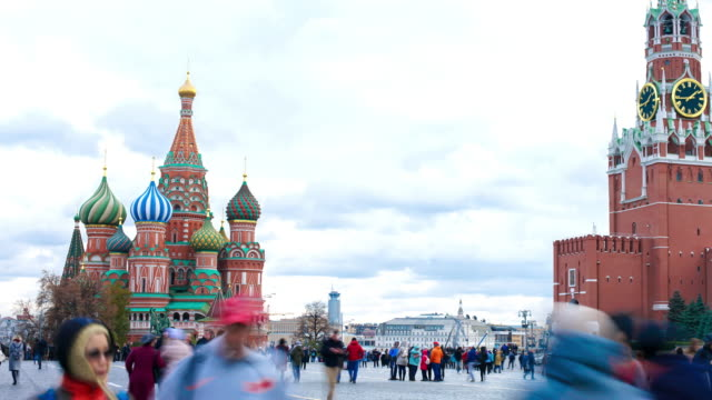 October 26 2018,Moscow Russia timelapse of crowd people in Red Square city square in Moscow