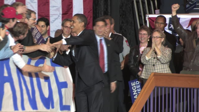 October 28 2008 Democratic presidential candidate Barack Obama greeting supporters at campaign rally at James Madison University/ Harrisonburg...