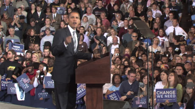 october 28 2008 ms democratic presidential candidate barack obama speaking before large crowd at campaign rally at james madison university/... - 2008 stock videos and b-roll footage