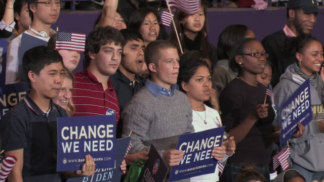 october 28 2008 ms multiethnic group of young spectators at campaign rally for democratic presidential candidate barack obama at james madison... - 2008 stock videos & royalty-free footage