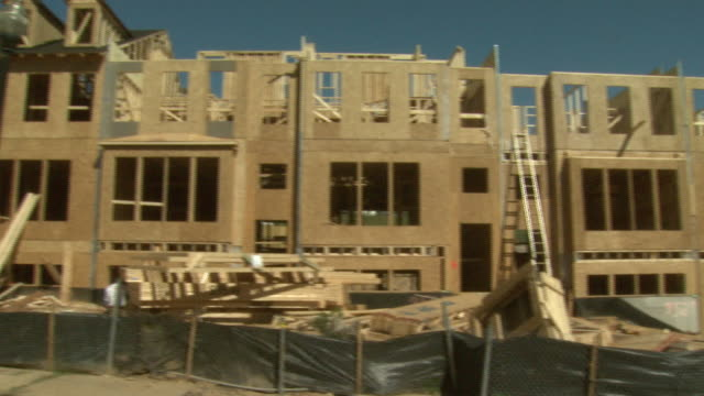 october 3 2008 pan housing construction site / united states - incomplete stock videos and b-roll footage