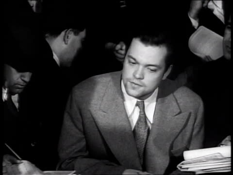 october 31 1938 ms orson welles press conference regarding war of the worlds controversy / new york city new york united states - 1938 stock videos & royalty-free footage