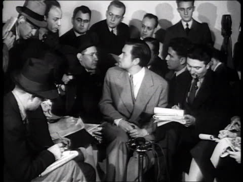 october 31 1938 ws orson welles press conference regarding war of the worlds controversy / new york city new york united states - 1938 stock videos & royalty-free footage