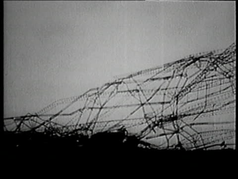 october 5, 1930 montage mangled wreckage of the r101 dirigible / france - 1930 stock videos & royalty-free footage