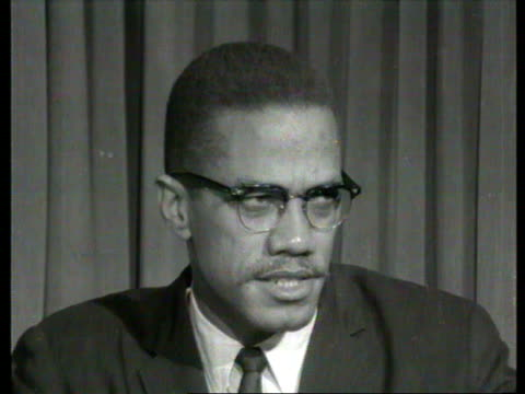 october 7, 1964 malcolm x speaking in interview about the necessity of adopting guerilla warfare against white oppression/ london, england/ audio - アメリカ黒人の歴史点の映像素材/bロール