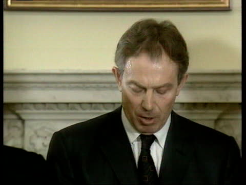 october 7, 2001 tony blair speaking about the connection between al qaeda and the international drug trade/ london, england/ audio - only mature men stock videos & royalty-free footage