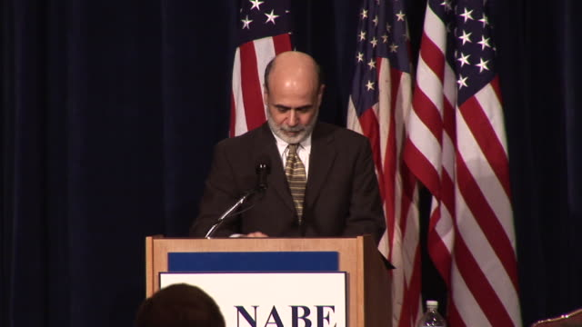 stockvideo's en b-roll-footage met october 7 2008 ms ms pan federal reserve chairman ben bernanke getting up to address group at national association of business economists/ washington... - 2008