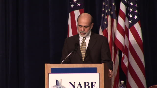 stockvideo's en b-roll-footage met october 7 2008 ms federal reserve chief ben bernanke speaking about the importance of attempting to stabilize the economy to the national association... - 2008