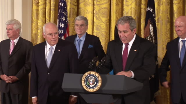 october 8 2008 ms zi george w bush speaking at signing of civilian nuclear agreement between the us and india with christopher dodd dick cheney john... - lectern stock videos & royalty-free footage