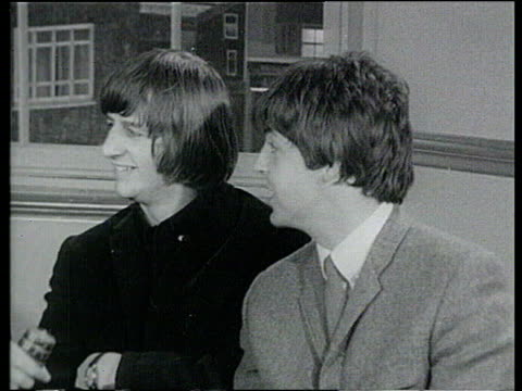 october lib int george harrison and paul mccartney interview about being made mbe's sot - george harrison video stock e b–roll