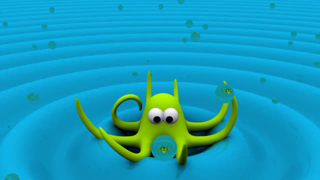 3D Octopus Animation with Bubbles