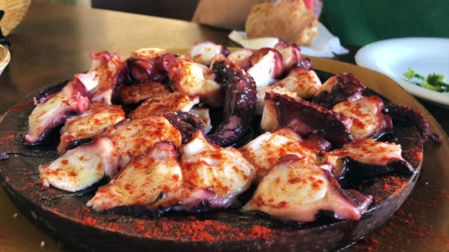 Octopus with peppers. Galicia, northern Spain.