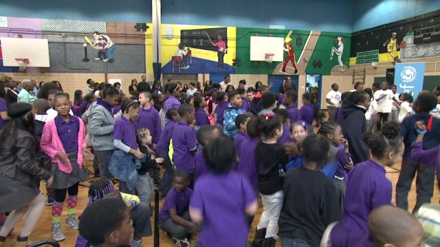 Oday Aboushi Caryl Stern and participants at UNICEF Kid Power Kicks off in New York with Former New York Knicks Star John Starks and Oday Aboushi at...