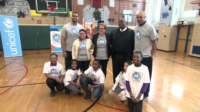 Oday Aboushi Principal Denise Desjardin Caryl Stern Deputy Mayor Richard Buery and John Starks at UNICEF Kid Power Kicks off in New York with Former...