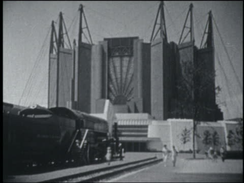b/w 1933 odd building with triangular beams / chicago world's fair - 1933 stock videos & royalty-free footage