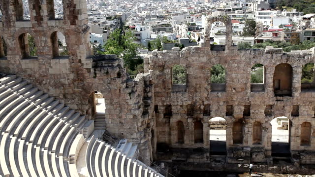 odeon of herod atticus, olympos, athens, greece - amphitheatre stock videos & royalty-free footage