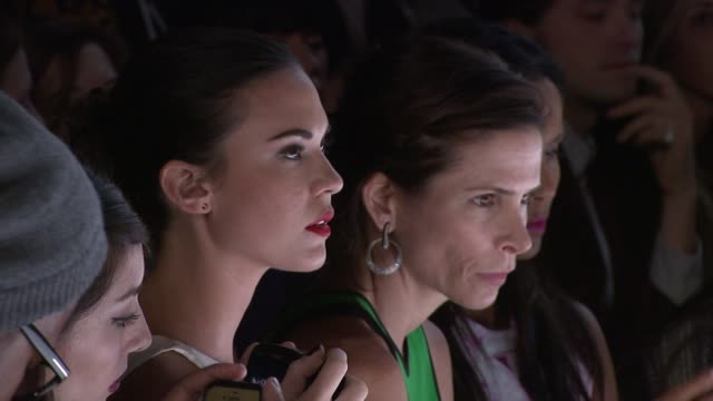 odette annable and padma lakshmi attend monique lhuillier - runway - spring 2013 - mercedes-benz fashion week at the theatre at lincoln center on... - パドマ ラクシュミ点の映像素材/bロール