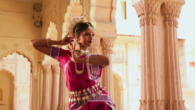odissi dancer performing in the palace, ballabgarh, haryana, india - tradition stock videos & royalty-free footage