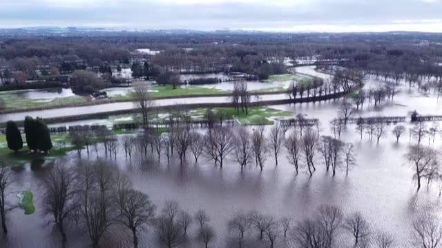 of a flooded golf course in northwest england after storm christophe brought significant rain and widespread flooding across the uk - massachusetts stock videos & royalty-free footage
