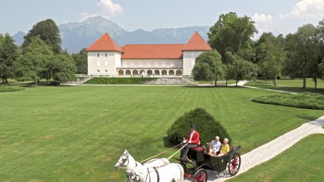 stockvideo's en b-roll-footage met antenne van een paard en wagen rijden door een kasteelpark - paard en wagen