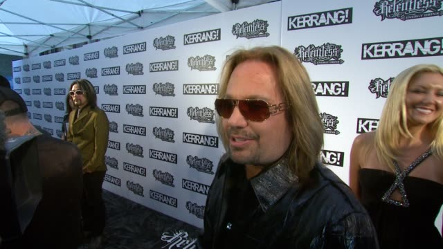 of a thrill it is compared to us festivals at the the relentless energy drink kerrang awards 2010 at london england - vince neil stock videos and b-roll footage