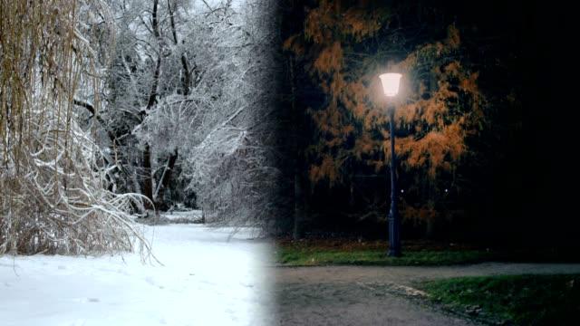 4 seasons of a town park walking paths - season stock videos & royalty-free footage