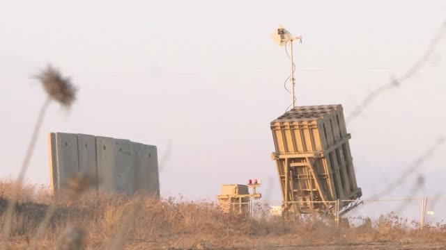 of an israeli military iron dome anti missile system deployed near sderot an israeli town neighbouring gaza - israel stock videos & royalty-free footage