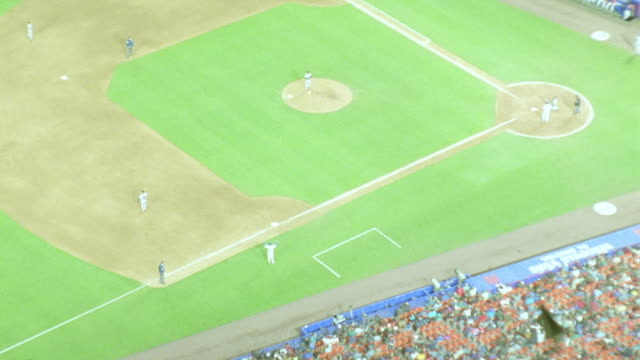 aerial of baseball game + crowd in shea stadium at night / nyc - shea stadium stock videos and b-roll footage