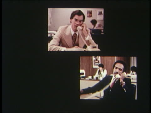 1970 split screen of businesspeople in conference call - 1970 stock videos & royalty-free footage