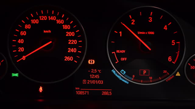 rpm of car dashboard rising / south korea - gauge stock videos & royalty-free footage