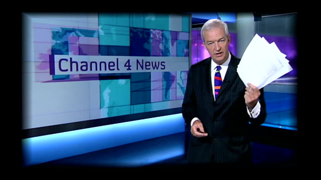 excerpt of channel 4 news bulletin featuring jon snow reading headlines in studio graphicised pages of the attorney general's document on the... - jon snow newscaster stock videos and b-roll footage