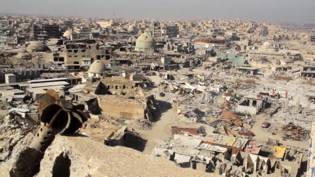 stockshots of destruction in iraq's second city mosul ahead of the first anniversary of the iraqi government declaring victory over the islamic state... - mosul stock videos and b-roll footage