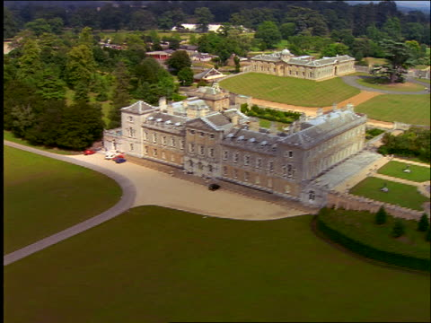 AERIAL of estate in English countryside / Woburn Abbey, Woburn Park, Bedfordshire