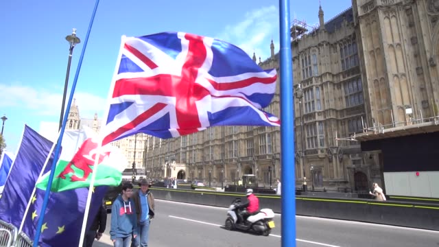 SLOMO of EU and Union Jack flags held by Brexit protesters outside Houses of Parliament in Westminster