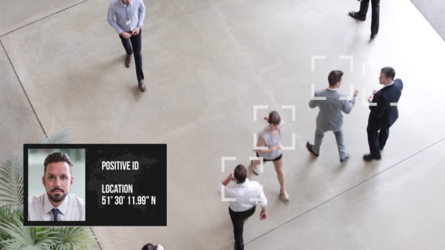 cctv of facial recognition technology in airports to identify person - proiezione evento pubblicitario video stock e b–roll