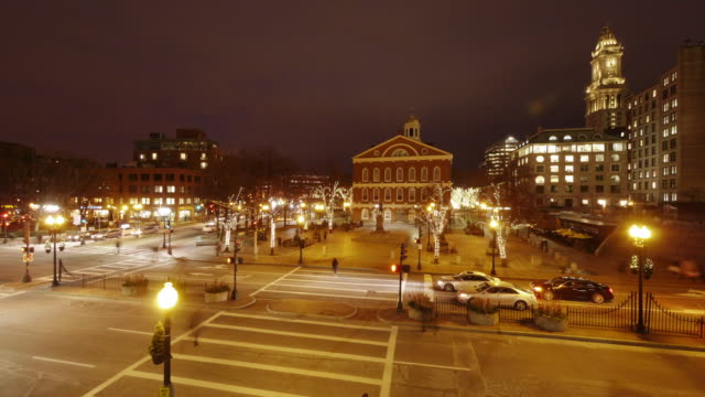 ew/s tl of faneuil hall at night during christmas time in boston, ma. - custom house tower stock videos & royalty-free footage